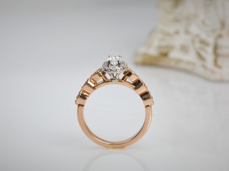 rose gold engagement rings. oval diamond, halo Oval Vintage Engagement Ring 14k Rose Gold