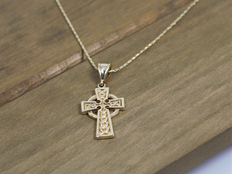Pendants & Necklaces - Custom 14k Yellow Gold Celtic Cross - image 2