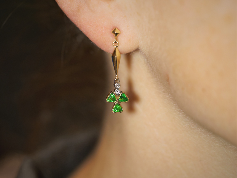 Our collection of high quality earrings feature 14k gold hoops, diamond studs, colorful gemstone earrings, dangles - image #2