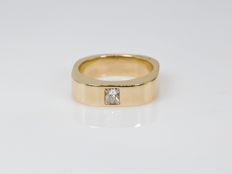 mens diamond ring, mens, wedding band, square  - Mens 14kt yellow gold Diamond Wedding Band