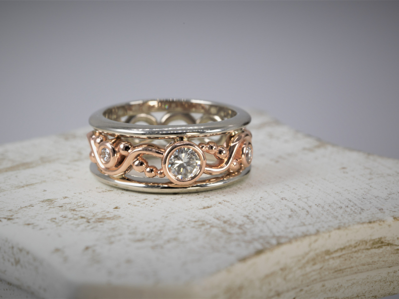 custom jewelry, palm harbor rings, rose gold diamond ring