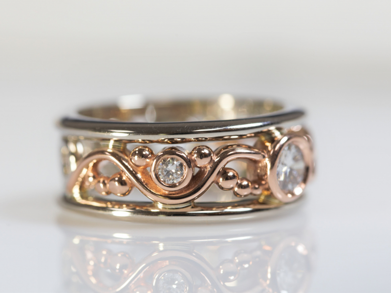 rosegold rings for anniversary, anniversary ring, 14k two toned ring