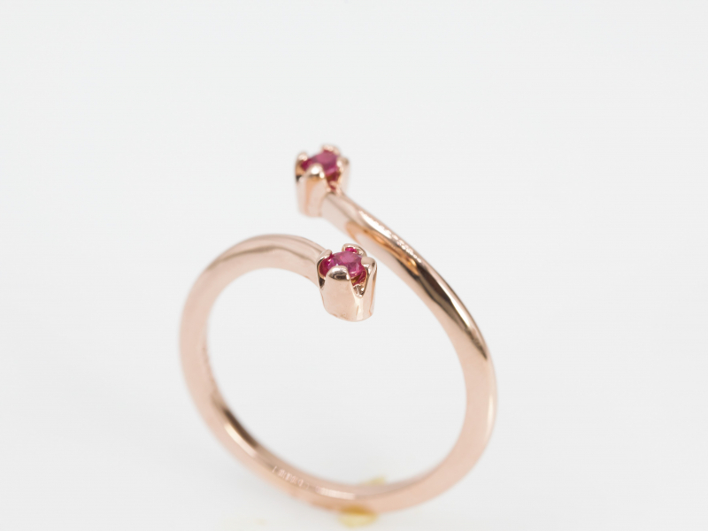 open space ring, open ring, cross ruby ring, negative space ruby ring