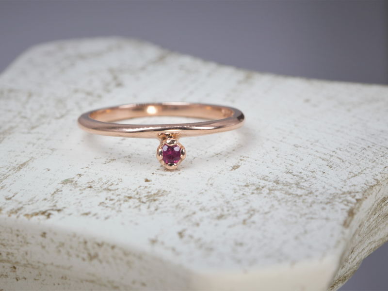 Rings - Ladies Ruby Stackable Ring in 14kt Rose Gold - image 2