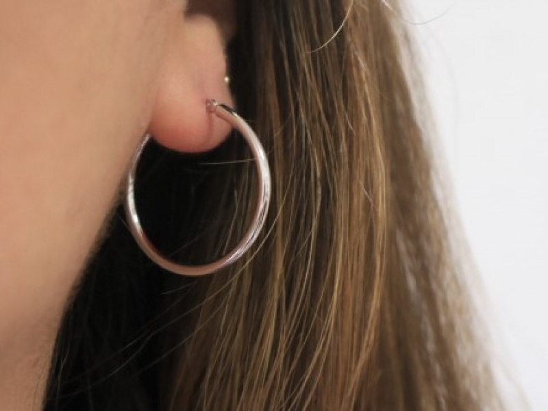 Earrings - White Gold Hoops 14k - image 2