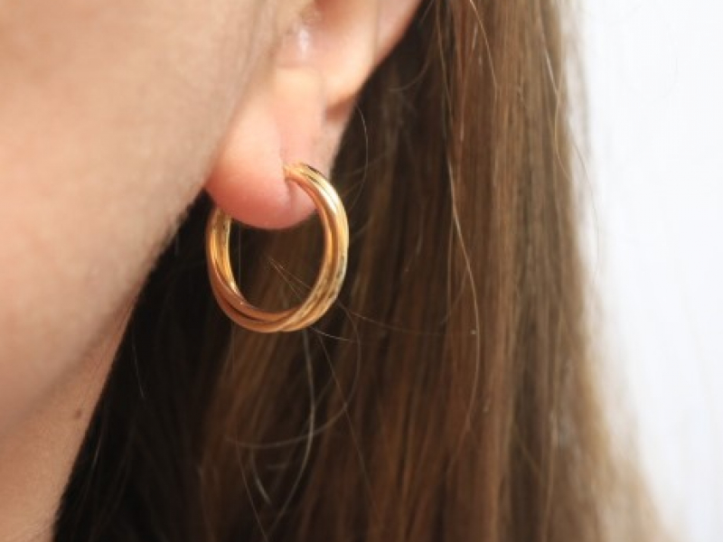 Earrings - Twisted Gold Hoops 14k - image 3