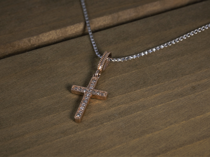 rose gold cross, dainty cross necklace, chain with cross Rose Gold Cross 14k Gold & Diamond Cross