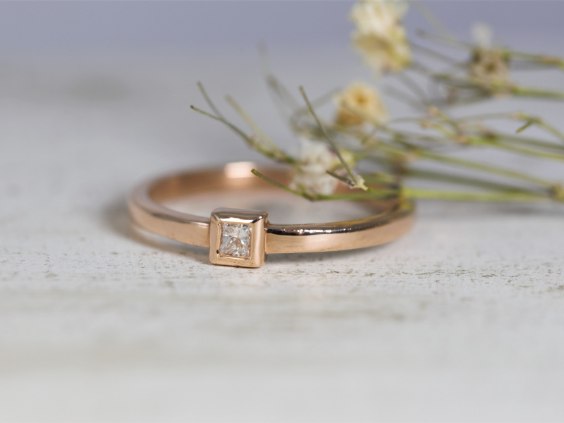 promise ring, 14k rose gold promise ring