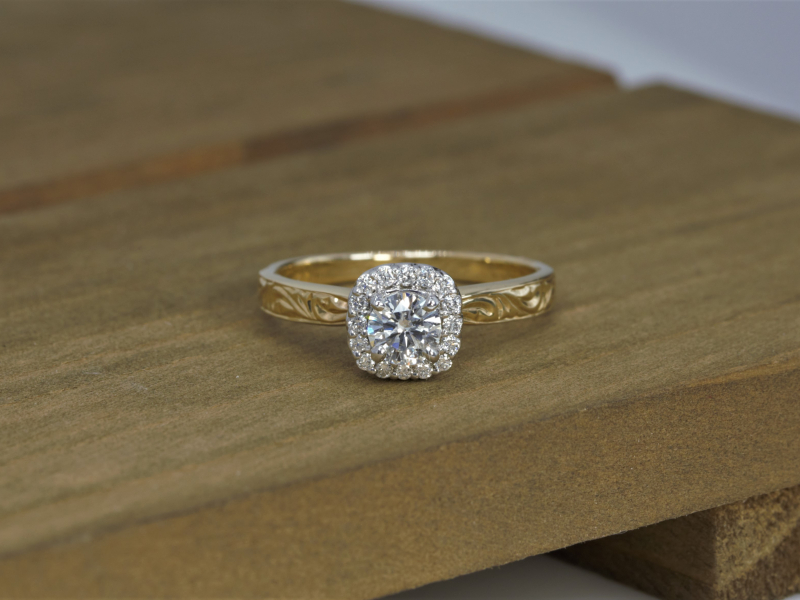 Round halo engagement ring, unique engagement ring, vintage ring