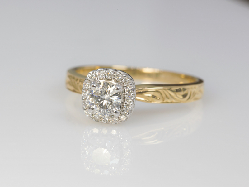 round diamond ring, engagement rings for her, 14k yellow gold ring