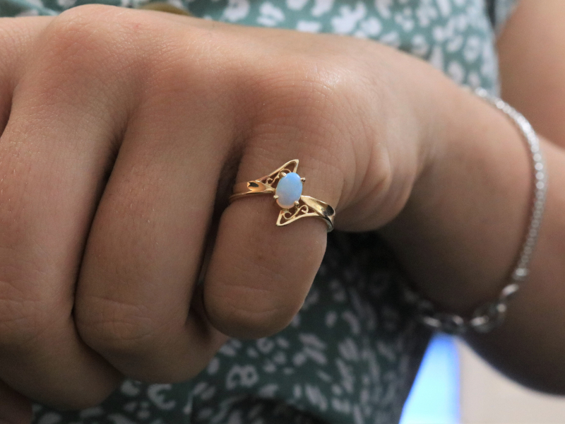 cute opal rings, 14k gold opal ring, unique opal ring