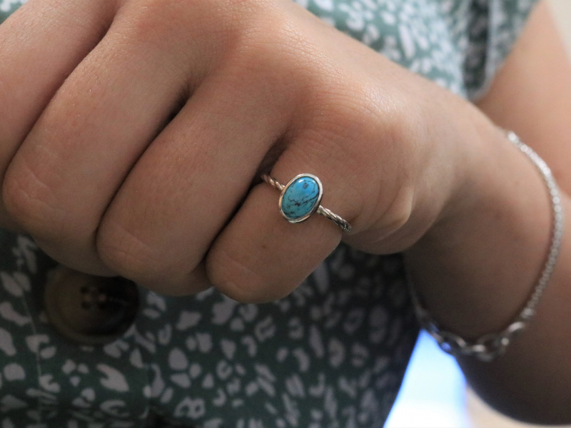 turquoise ring, size 5 turquoise ring, non tarnish sterling silver rings