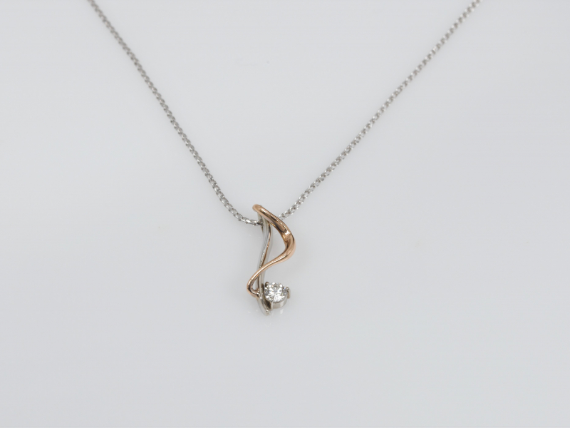Pendants & Necklaces - Two-Toned White and Rose Gold Pendant with Single Diamond - image 2