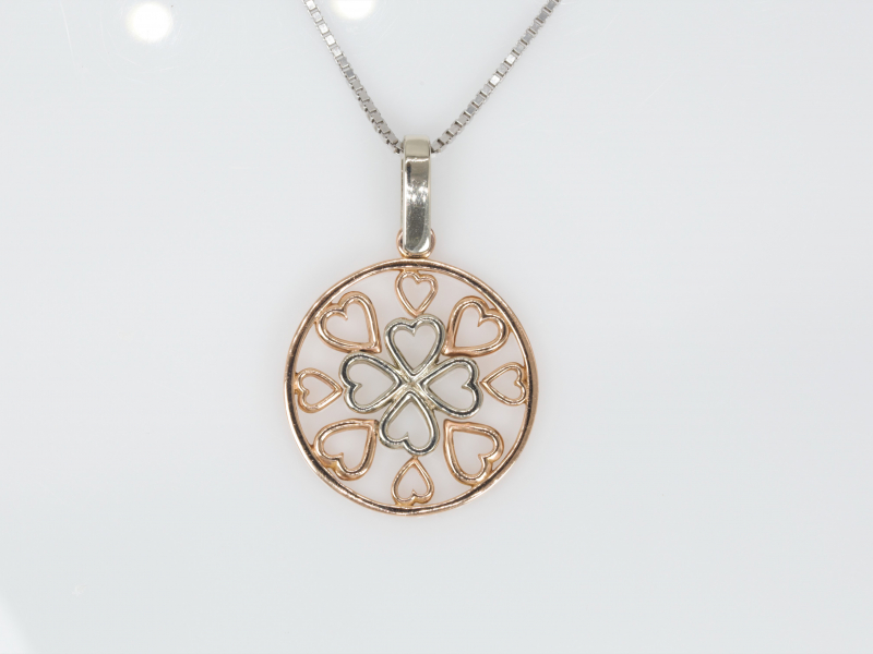 "Pendants & Necklaces - ""Circle of Love"" 14kt Rose and White Gold Circle Pendant with Hearts"