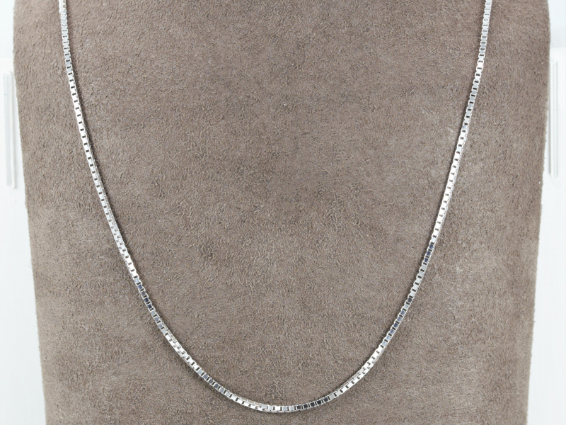 box chain, mini bsquared link ed together, what does a box chain look like?, box chain, 14kt white gold, white, silver, thick