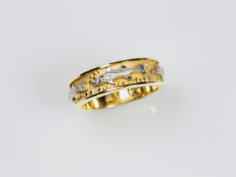 Mens Fish Rings 14k Unique Wedding Bands For Fishers
