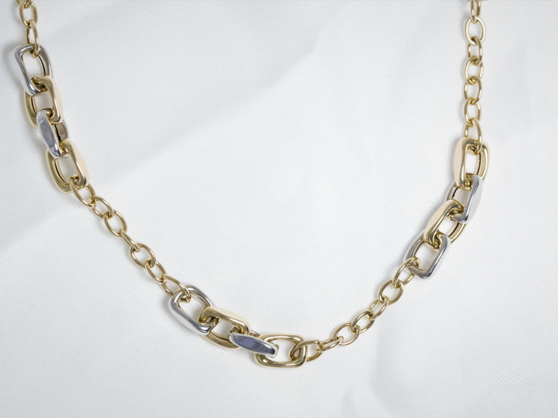 14k gold two toned chain, two toned gold chain, 2 toned chain