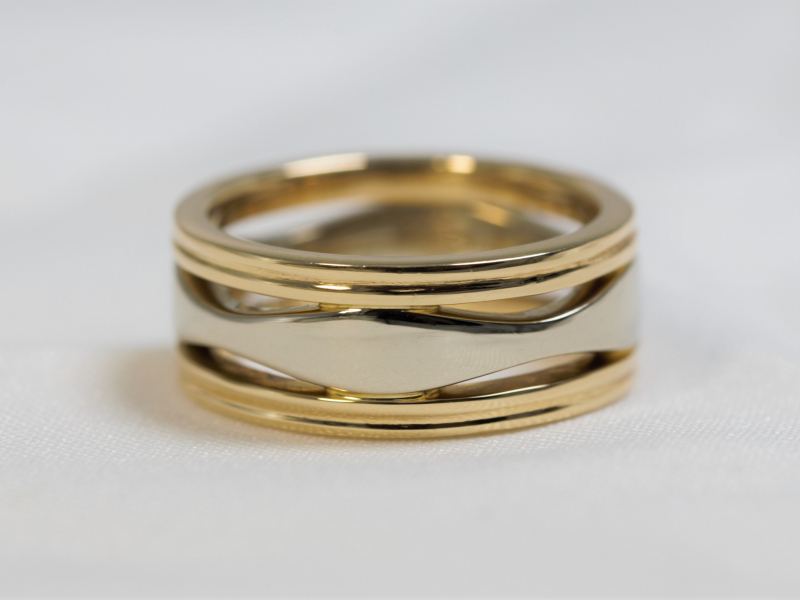 Unisex wedding band, size 5 two toned wedding ring - Ripple Two Toned Ring