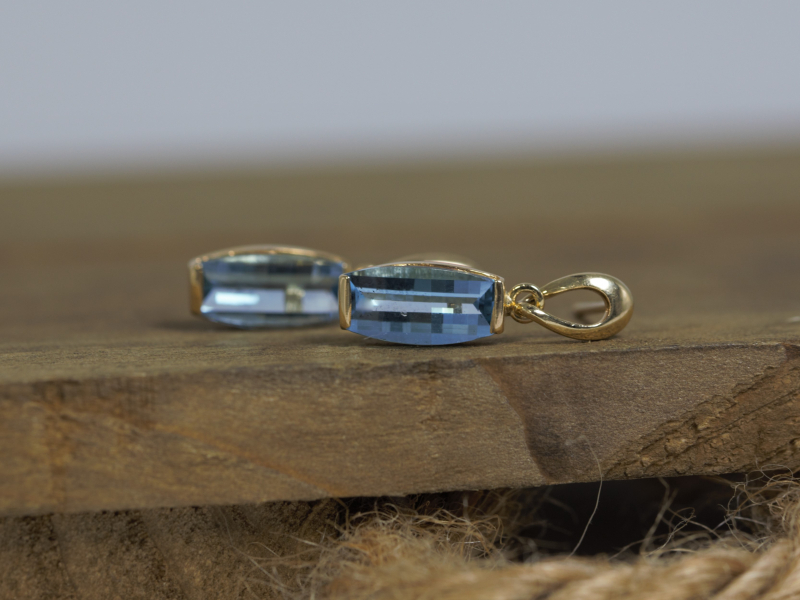 real gold and topaz earrings, december birthstone earrings