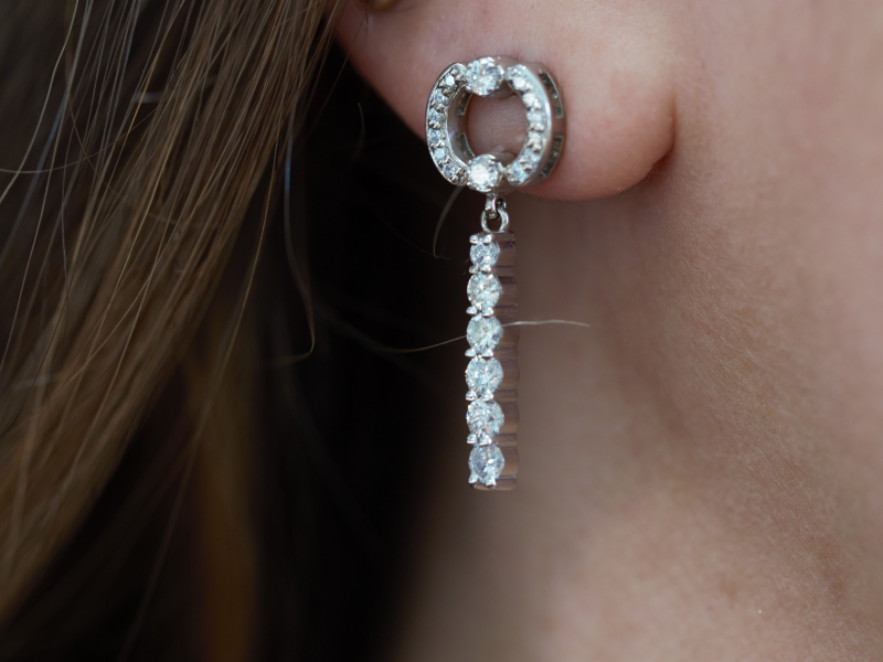 circle diamond earrings with drop down diamonds, dangle diamond earrings