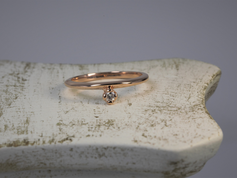 Rose Gold Promise Ring, DIamond dainty ring