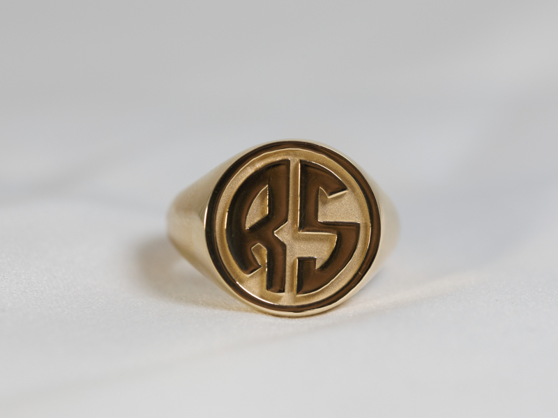 solid gold signet ring, ring with initals, mens custom rings