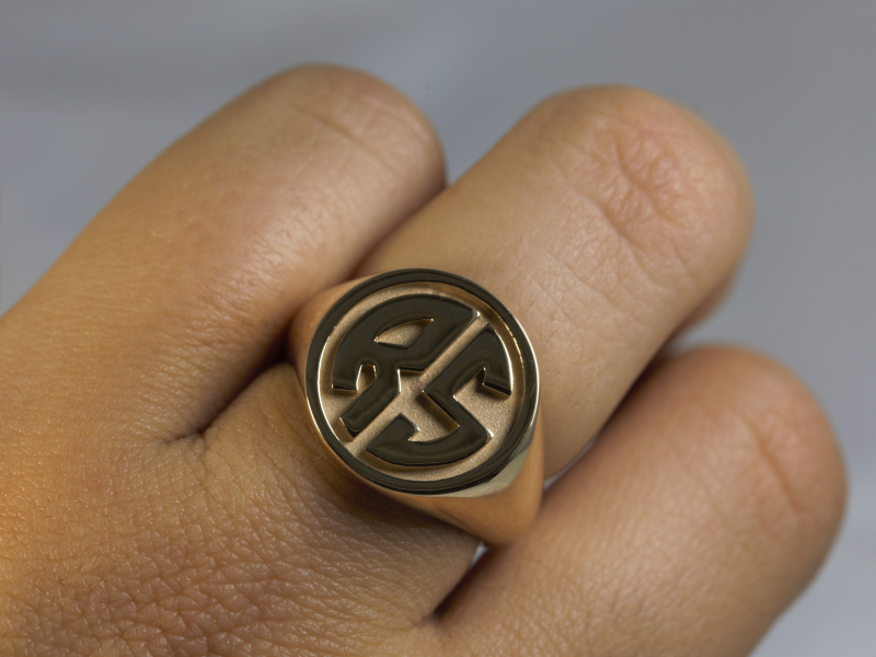 14k gold, initial ring, monogram ring, womens signet ring