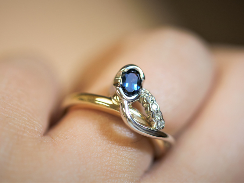 Rings - Unique Sapphire Ring With Row of Diamonds - image 2