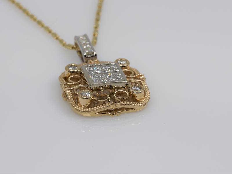 Pendants & Necklaces - Invisible Scroll Custom Square Pendant - image 2