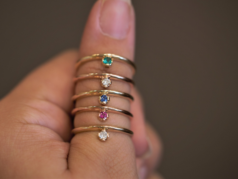 Custom stackable Rings, solitaire stackable, colorful stackable rings, rainbow rings