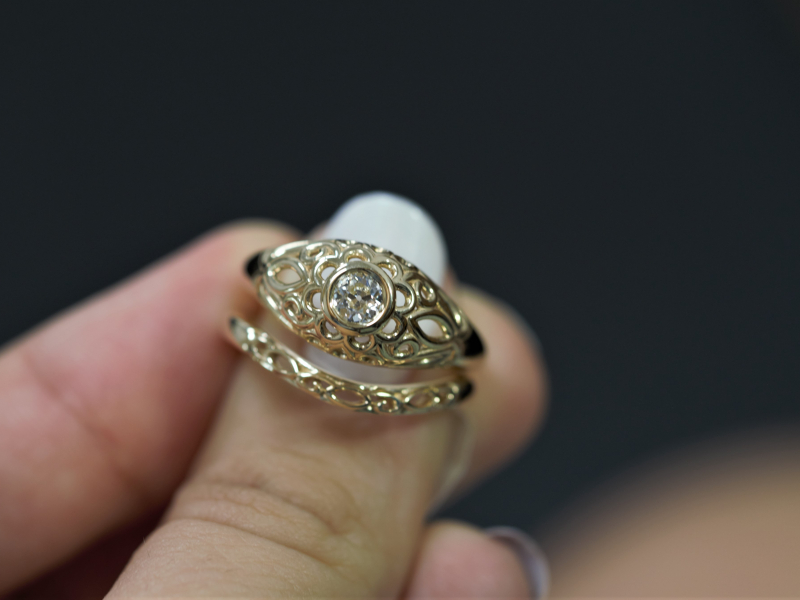 Wedding Set, Vintage Set, Rings, Domed Ring