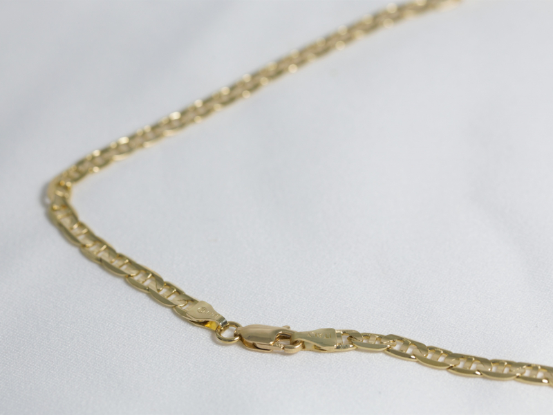 beveled mariner link gold chain, gold chain under 2,000