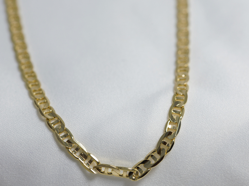 14k gold chain for men, mariner link chain, 20 inch gold chain