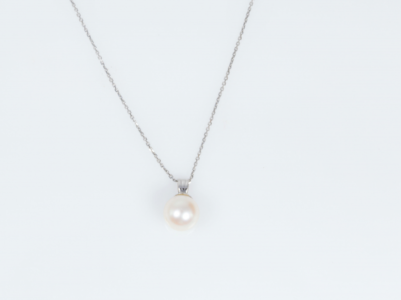 single pearl neclace, pearl pendant, cultured pearl  - Pearl Pendant Simple in 14k White Gold