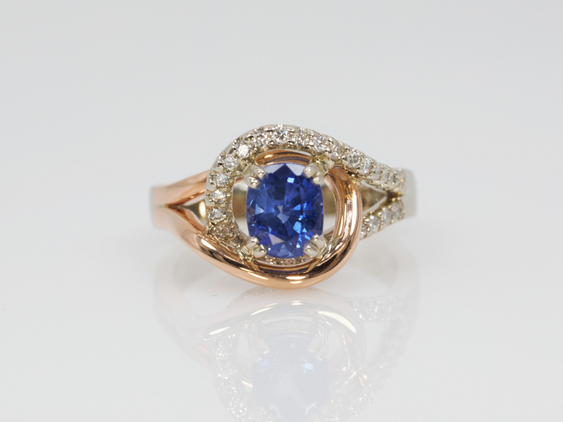 Tanzanite and Diamond Ring - Entwined Sapphire and Diamond Ring