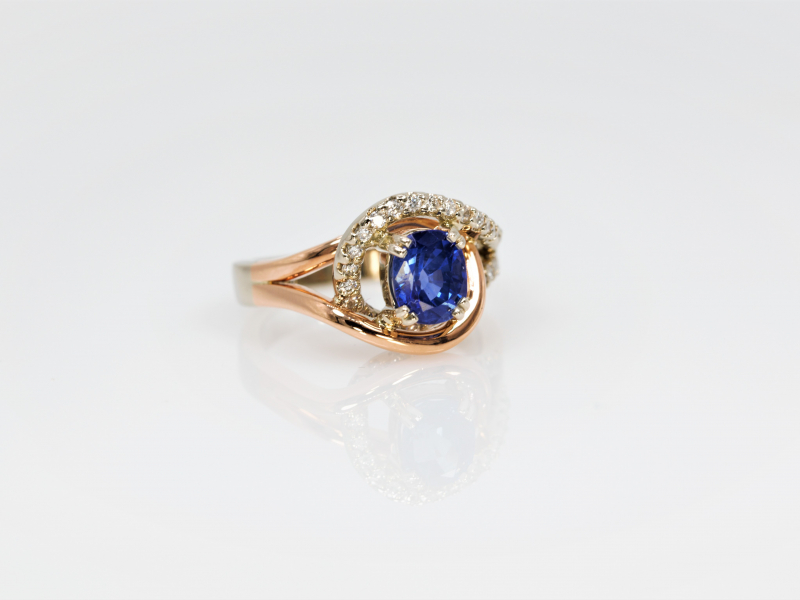 Rings - Entwined Sapphire and Diamond Ring - image 3