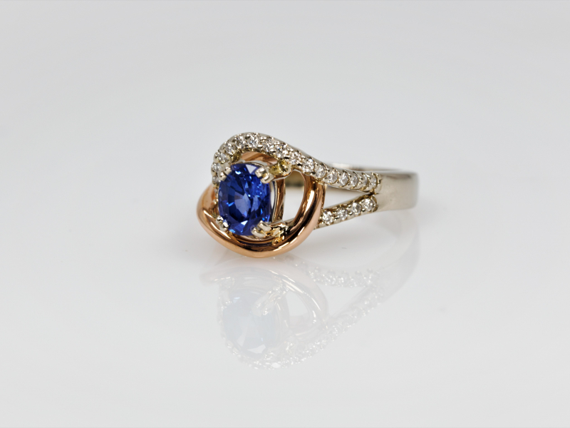 Rings - Entwined Sapphire and Diamond Ring - image 2