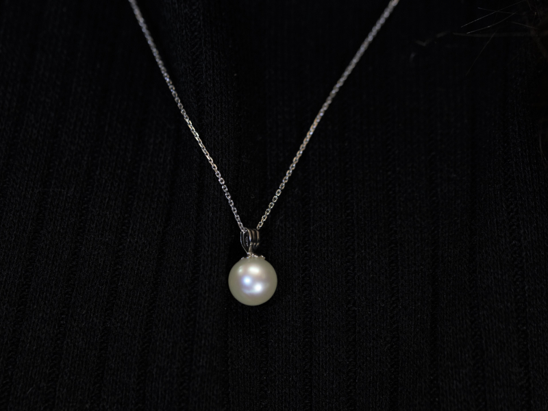 Pendants & Necklaces - Pearl Pendant Simple in 14k White Gold - image 2