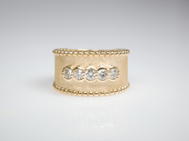 Thick gold ring, diamonds, beaded edged, custom rings, wide rings - Diamond Etruscan Band
