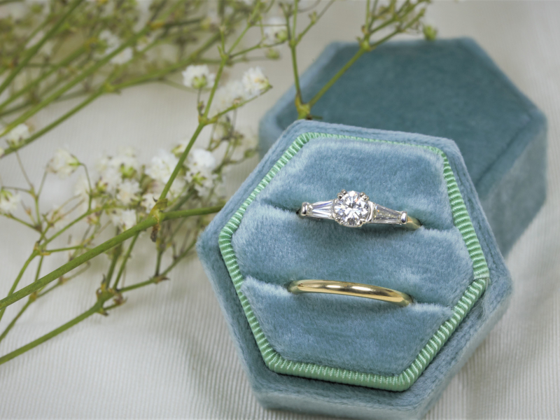 unique engagement ring, custom ring, baguette wedding ring