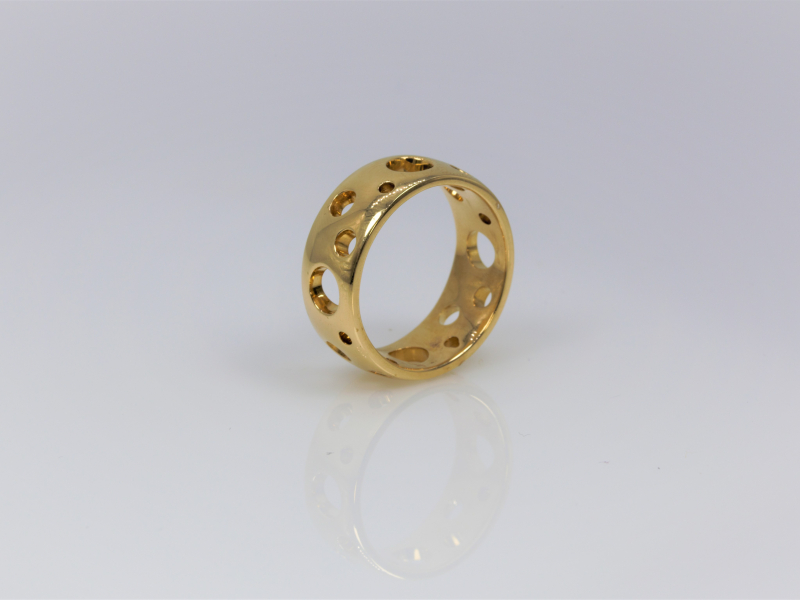 Gold Ring with Holes Craters Gold Ring