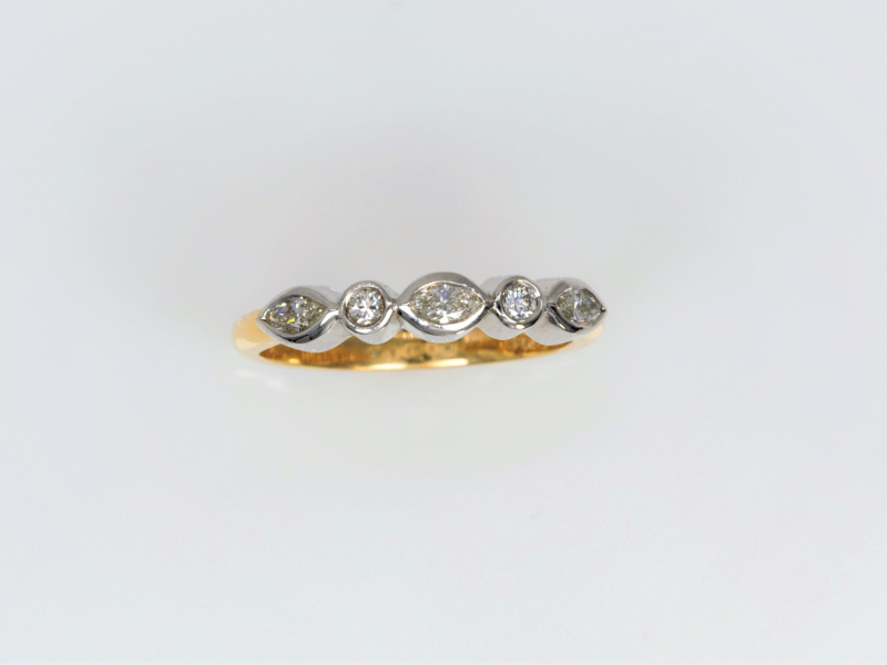 Diamond Wedding Ring / Band comes with Marquise and Round Diamonds set in 14kt White Gold