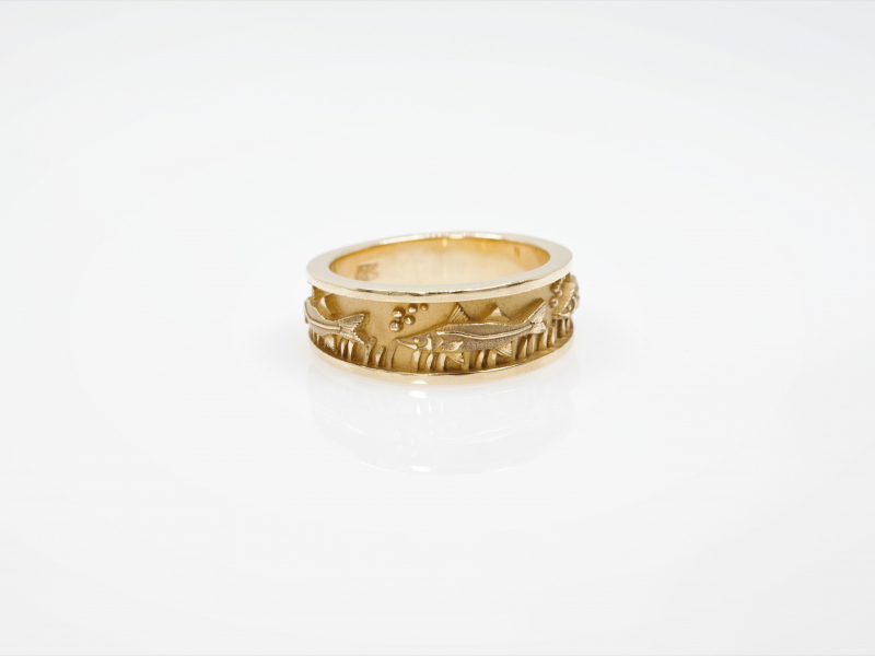 Les Olson Jewelers Custom Designs - Fish Ring, Yellow Gold or White Gold - image 2