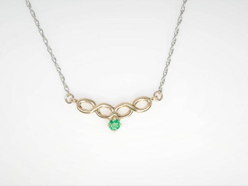 emerald infinity necklace, infinity nevklace with emerald, custom emerald necklace, yellow gold - Infinity Emerald Necklace