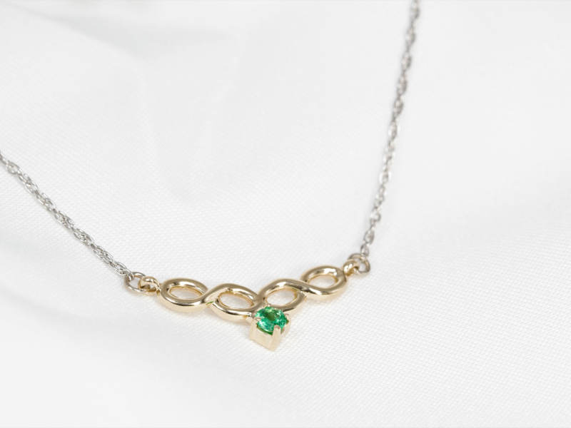 Pendants & Necklaces - Infinity Emerald Necklace - image 2