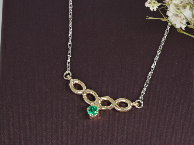 Pendants & Necklaces - Infinity Emerald Necklace - image 3