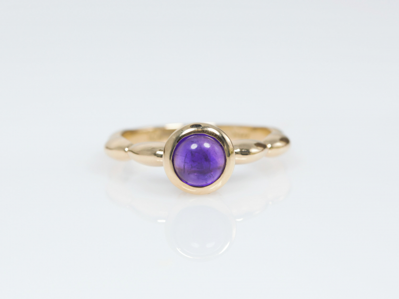 amethyst ring, cabachon amethyst, custom amethyst ring, rings for young girls - Custom Cabachon Amethyst Ring