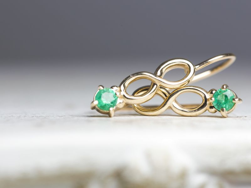 Our collection of high quality earrings feature 14k gold hoops, diamond studs, colorful gemstone earrings, dangles - image #4