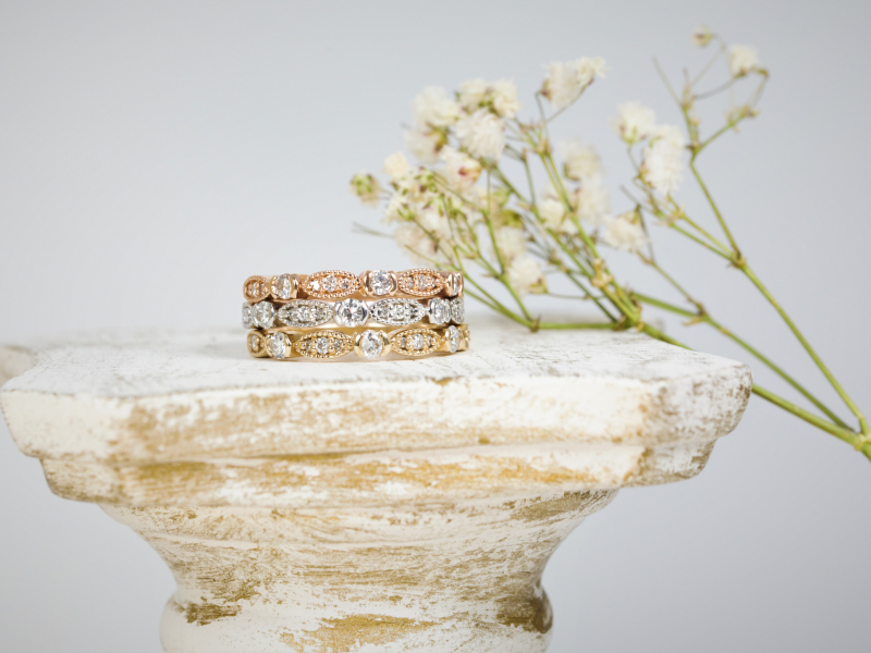vintage stackable, rose gold,