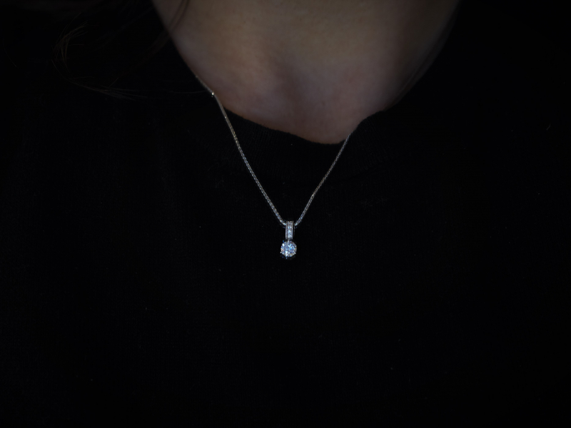 diamond pendant, quality soliatire diamond necklace, single diamond wit diamond bail pendant Ladies Single Diamond Pendant wi